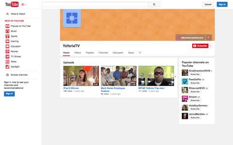 Screenshot of YouTube Page youtube.com - YoforiaTV  - YouTube - captured Oct. 23, 2014