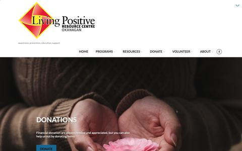 Screenshot of Home Page lprc.ca - Living Positive – awareness, prevention, education, support - captured Sept. 29, 2018