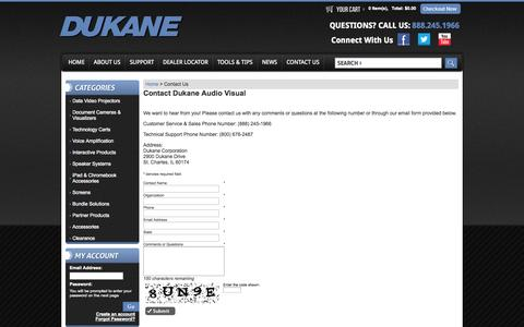 Screenshot of Contact Page dukaneav.com - Dukane AV - Contact Us - captured Oct. 6, 2014