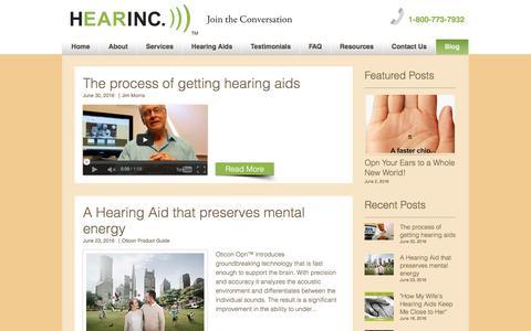 Screenshot of Blog hearinc.biz - Follow our Blog - captured July 12, 2016