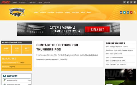 Screenshot of Contact Page theaudl.com - Pittsburgh Thunderbirds Contact Us   AUDL - captured Oct. 21, 2018