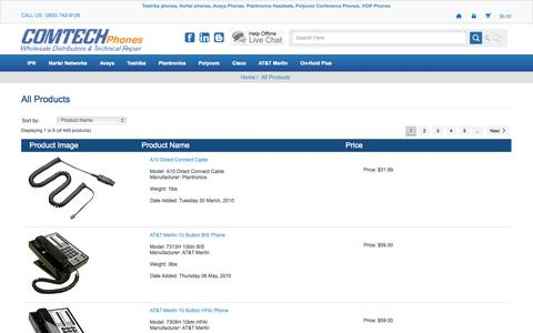 Screenshot of Products Page comtechphones.com - Business Phone Products |Telecom Wholesale Products - captured Sept. 24, 2014