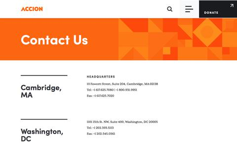 Screenshot of Contact Page accion.org - Contact Us | Accion - captured Jan. 31, 2020
