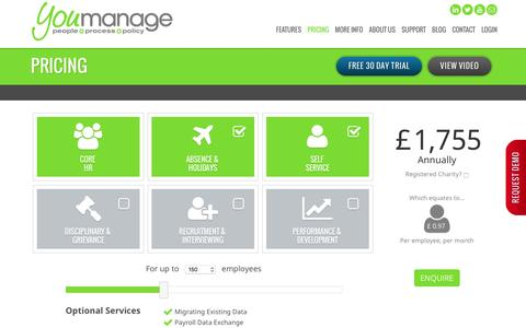 Screenshot of Pricing Page youmanage.co.uk - Pricing - captured Dec. 11, 2016