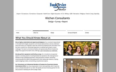 Screenshot of About Page foodserviceconsultantsstudio.com - Credentialed & Experienced Designers - captured Aug. 19, 2018