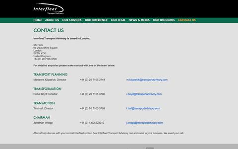 Screenshot of Contact Page transportadvisory.com - Interfleet Transport Advisory :: Contact Us - captured Oct. 6, 2014