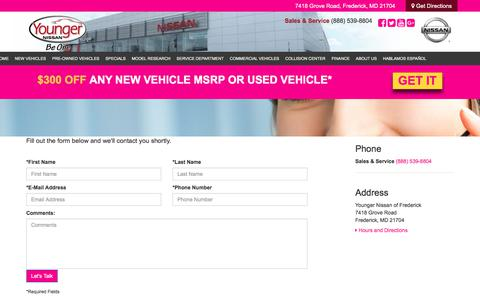 Screenshot of Contact Page youngernissan.com - Contact Us - Gaithersburg Nissan dealer in Frederick Maryland - New and Used Nissan dealership Darnestown Hagerstown Leesburg Maryland - captured Oct. 13, 2017