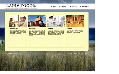 Screenshot of Services Page apis-food.com - Our Services : Milk Powders, whey Powders, Cheese Products, Feed Products - captured Sept. 30, 2014