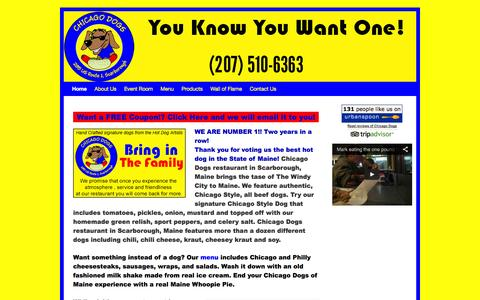 Screenshot of Home Page chicagodogsofmaine.com - Chicago Dogs of Maine | Maine's #1 Best Hot Dog located in Scarborough - captured Sept. 29, 2014