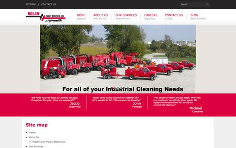 Screenshot of Site Map Page rolanplantservices.com - Hydro Excavation | Industrial Chemical Cleaning | Vacuuming Services - captured Oct. 9, 2014
