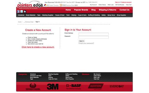 Screenshot of Login Page thepaintersedge.com - The Painters Edge - Sign in - captured Oct. 9, 2014