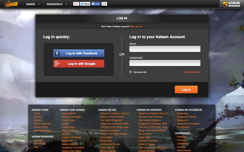 Screenshot of Login Page kabam.com - Free Strategy Game Online | Edgeworld - captured Nov. 1, 2014