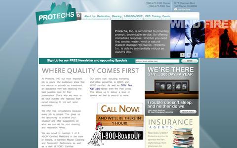 Screenshot of Home Page protechsinc.com - Protechs - Home - captured Sept. 26, 2014