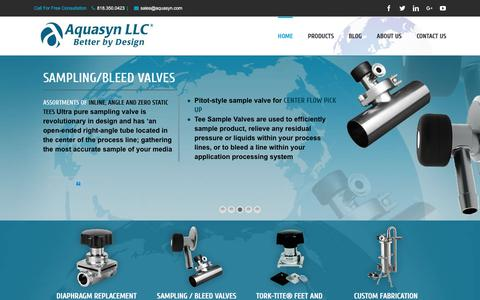 Screenshot of Home Page aquasyn.com - Diaphragm Valves | Disposable Diverter | Single Use Systems | Custom Fabrication | Disposable Valves - Aquasyn, LLC - captured Oct. 8, 2017
