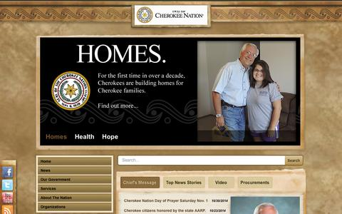 Screenshot of Services Page cherokee.org - Services - captured Nov. 5, 2014