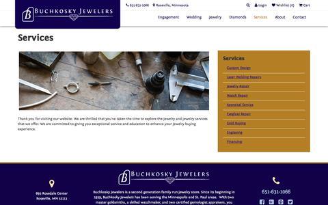 Screenshot of Services Page buchkosky.com - Buchkosky Jewelers:  Services - captured Nov. 23, 2016