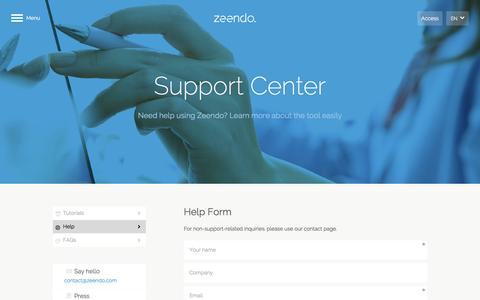 Screenshot of Support Page zeendo.com - Zeendo - captured June 17, 2016