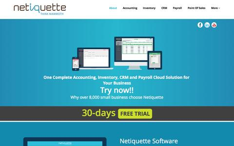Screenshot of Home Page mynetiquette.com - Netiquette Software Malaysia| Cloud Accounting Software, Cloud Inventory, Cloud Payroll, Cloud CRM, Cloud Online Software - captured Sept. 1, 2015