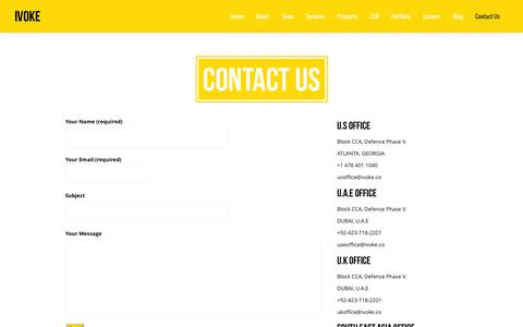 Screenshot of Contact Page ivoke.co - Contact Us - Intrective Media Agency | Ivoke.co - captured Oct. 6, 2014