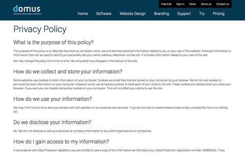 Screenshot of Privacy Page domus.net - Privacy Policy | Domus Estate and Letting Agent Software - captured Aug. 7, 2018