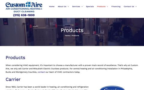 Screenshot of Products Page customaire.com - Products - Customaire - captured Sept. 30, 2018