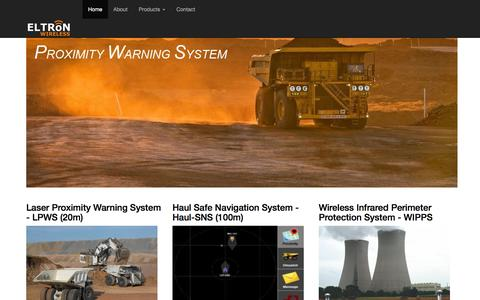 Screenshot of Home Page eltronwireless.com - ELTRON Wireless : Manufacturer of Laser Proximity Warning System - LPWS, Haul Safe Navigation System - Haul-SNS, Wireless Infrared Perimeter Protection System - WIPPS - captured July 9, 2016