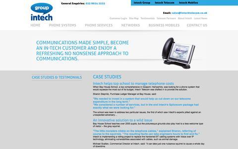 Screenshot of Testimonials Page intechtelecom.co.uk - Intech Telephone Systems - Office Phones, Business Phone Systems - captured Sept. 30, 2014
