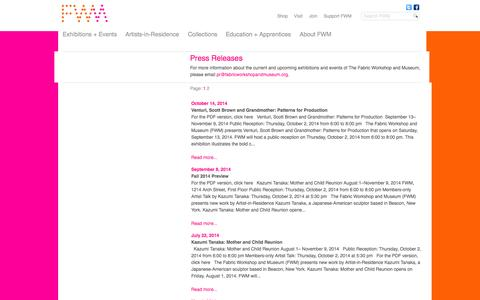 Screenshot of Press Page fabricworkshopandmuseum.org - Fabric Workshop and Museum - captured Oct. 26, 2014