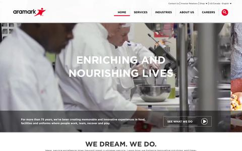 Screenshot of Home Page aramark.com - Aramark | Food, Facilities, and Uniform Services - captured Oct. 9, 2015