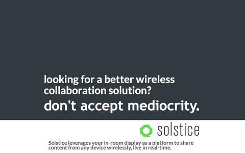 Screenshot of Landing Page mersive.com - Solstice wireless collaboration solution. - captured Aug. 31, 2017