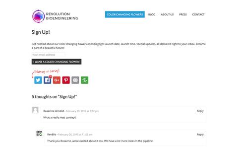 Screenshot of Signup Page revolutionbio.co - Sign Up! - Revolution Bioengineering - captured Feb. 15, 2016