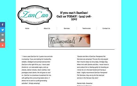 Screenshot of Testimonials Page zancan4u.com - Testimonials - captured Nov. 28, 2016