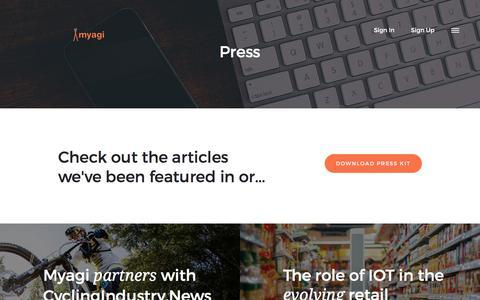 Screenshot of Press Page myagi.com - Press | Myagi - captured Nov. 11, 2017