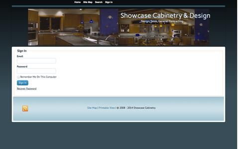 Screenshot of Login Page showcasecabinetry.com - Sign In - Showcase Cabinetry & Design - captured Oct. 26, 2014