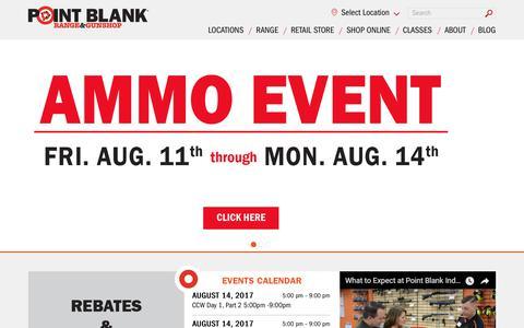 Screenshot of Home Page shootpointblank.com - Point Blank Indoor Shooting Range & Gun Shop - Cincinnati, Ohio - captured Aug. 13, 2017