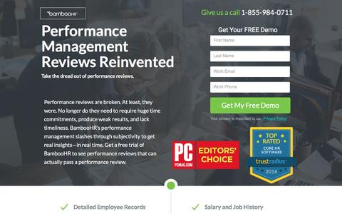 Screenshot of Landing Page bamboohr.com - BambooHR | #1 Performance Management Software for Small and Medium Businesses - captured Oct. 5, 2016