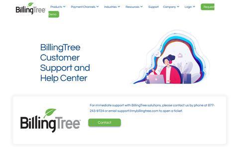 Screenshot of Support Page mybillingtree.com - Support | BillingTree - captured Nov. 8, 2019