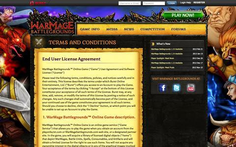 Screenshot of Terms Page warmagebattlegrounds.com - Multiplayer Turn Based Tactical Combat Strategy Game   WarMage Battlegrounds   Terms and Conditions - captured Sept. 12, 2014