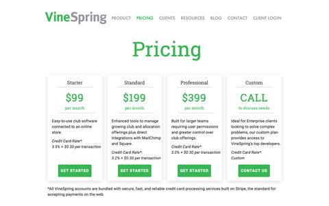 Screenshot of Pricing Page vinespring.com - Pricing    eCommerce, Allocations, Wine Club Management — VineSpring - captured Nov. 21, 2018