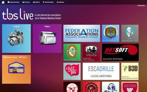 Screenshot of Home Page tbslive.fr - TBS Live - Le site internet des associations de Toulouse Business School - captured Oct. 6, 2014