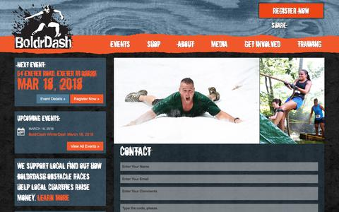 Screenshot of Contact Page boldrdashrace.com - Contact BoldrDash About Our Obstacle Course Events - captured Oct. 10, 2017