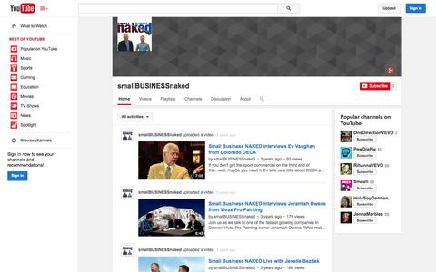 Screenshot of YouTube Page youtube.com - smallBUSINESSnaked  - YouTube - captured Oct. 23, 2014