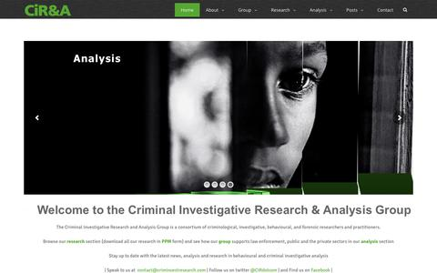 Screenshot of Home Page criminvestresearch.com - Criminal Investigative Research and Analysis Group – Criminal Investigative Research and Analysis Group - captured Nov. 12, 2016