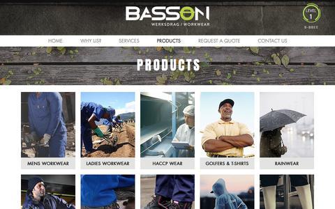 Screenshot of Products Page bassonworkwear.co.za - Basson Workwear   Products - captured Aug. 1, 2018
