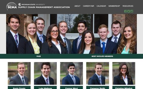 Screenshot of About Page msuscma.com - About - MSU Supply Chain Management Association - captured April 8, 2016
