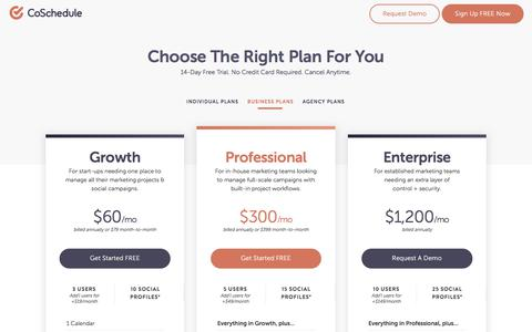 Screenshot of Pricing Page coschedule.com - CoSchedule Pricing - captured April 19, 2018