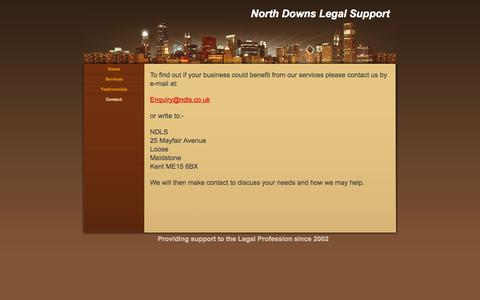 Screenshot of Contact Page ndls.co.uk - Contact - North Downs Legal Support - captured Oct. 26, 2014