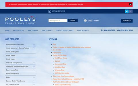 Screenshot of Site Map Page pooleys.com - Sitemap | Pooleys Flying and Navigational Products and Accessories - captured Dec. 15, 2018