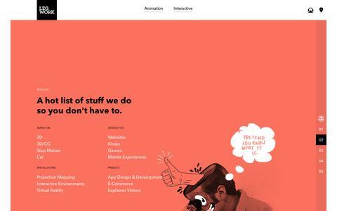 Screenshot of Services Page legworkstudio.com - Legwork Studio / Services - captured Dec. 12, 2018