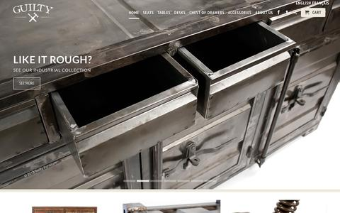 Screenshot of Home Page guiltyfurniture.com - Guilty Furniture : Handcrafted - Matured - Sophisticated - captured Sept. 29, 2014
